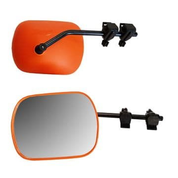 AERODYNAMIC TOWING MIRROR HI VIS ORANGE caravan motorhome FLAT GLASS - PAIR